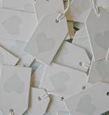 Label karton 4x7cm wit met hartje Ice bleu