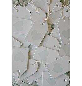 Label karton wit met hartje Ice blauw
