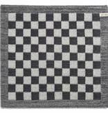Knit Factory Gebreide keukendoek 'grote blok' ercu/antraciet 50x50cm