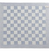 Knit Factory Gebreide keukendoek 'grote blok' ercu/lichtgrijs 50x50cm