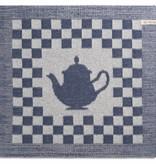 Knit Factory Gebreide keukendoek 'koffiepot' ercu/jeans 50x50cm