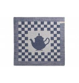Knit Factory Gebreide keukendoek 'koffiepot' ecru/jeans