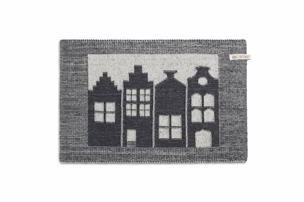 Knit Factory Gebreide placemat 'huis' ercu/antraciet 50x30cm