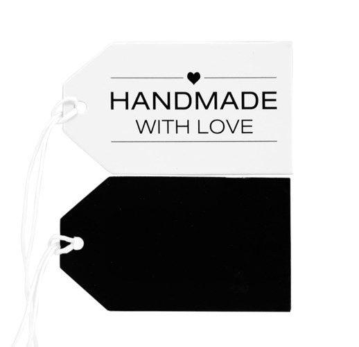 Label karton 4x7,5cm Handmade With Love, wit/zwart