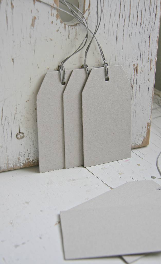 East of India Label 11x6cm groot, grijs