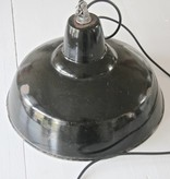 Industriële lamp emaille Zwart