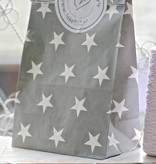 IB Laursen Papieren blokbodem zakken STER 18x10,5x28m5cm, grijs, 10 stuks