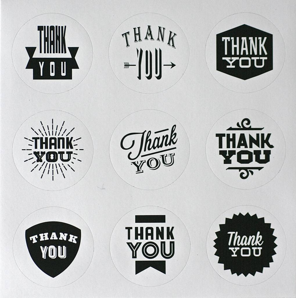 Ronde sticker thank you, zwart/wit, 9st