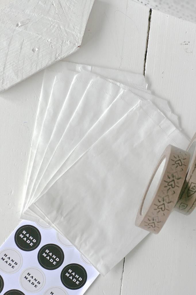 Papieren witte zakjes 10x15cm wit, 10 stuks