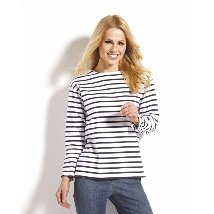 Modas Bretonse streepshirt voor dames in 25 kleurcombinaties