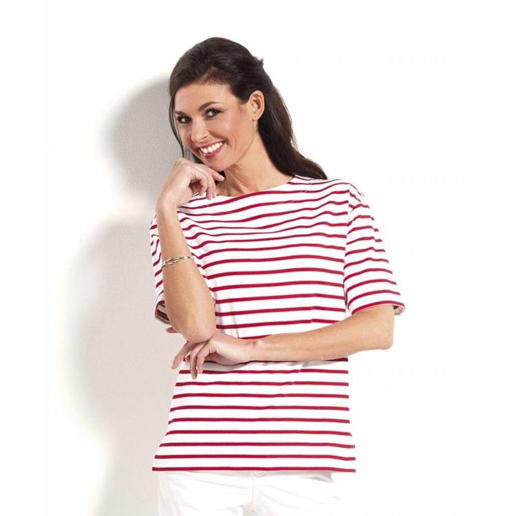 Modas Bretonse streepshirt voor dames met korte mouwen in vele kleurcombinaties