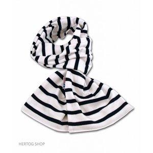 Modas Bretonse sjaal in Wit met marineblauwe streep