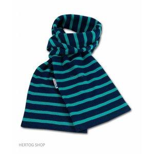 Modas Bretonse sjaal ca. 15x140 cm in Donkerblauw met groene streep
