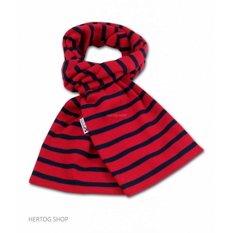 Modas Bretonse sjaal in Rood met marineblauwe streep