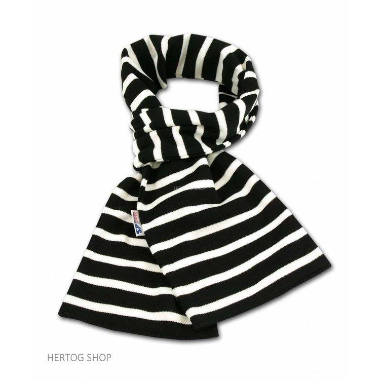Modas Bretonse sjaal ca. 15x140 cm in Zwart met witte streep