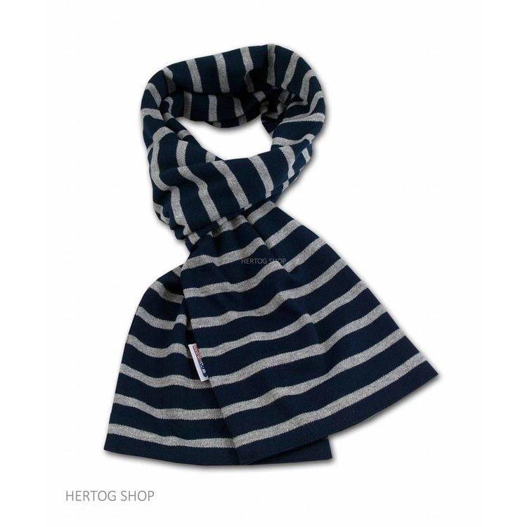 Modas Bretonse sjaal ca. 15x140 cm in Donkerblauw met grijze streep