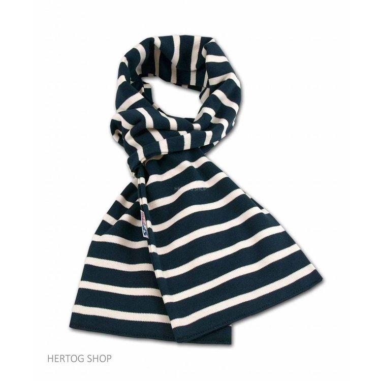 Modas Bretonse sjaal in Marineblauw met ecru streep