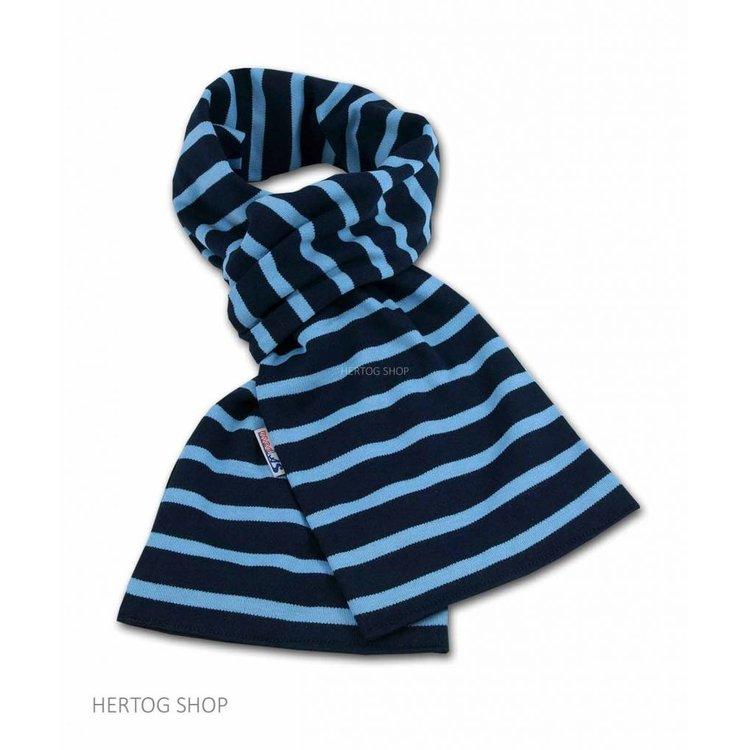 Modas Bretonse sjaal ca. 15x140 cm in Donkerblauw met middenblauwe streep