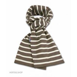 Modas Bretonse sjaal ca. 15x140 cm in Taupe met ecru-kleurige streep
