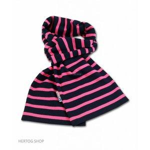 Modas Bretonse sjaal in Marineblauw met fuchsia streep