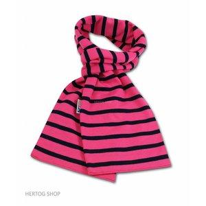 Modas Bretonse sjaal in Fuchsia met marineblauwe streep