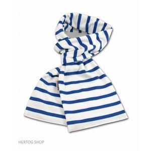 Modas Bretonse sjaal in Wit met royalblue streep