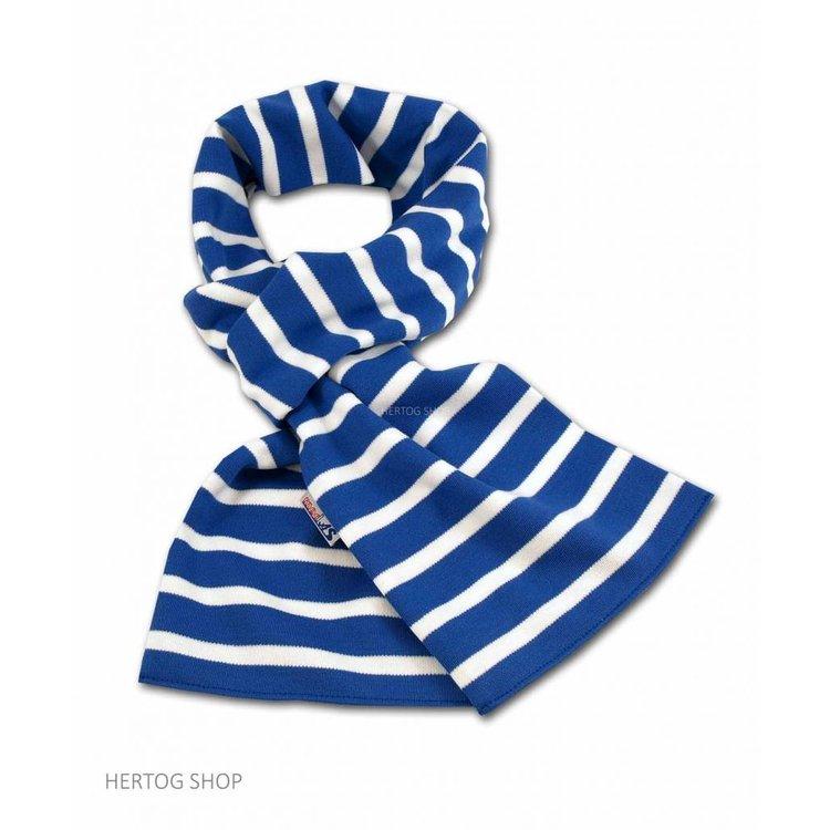 Modas Bretonse sjaal in Royalblue met witte streep