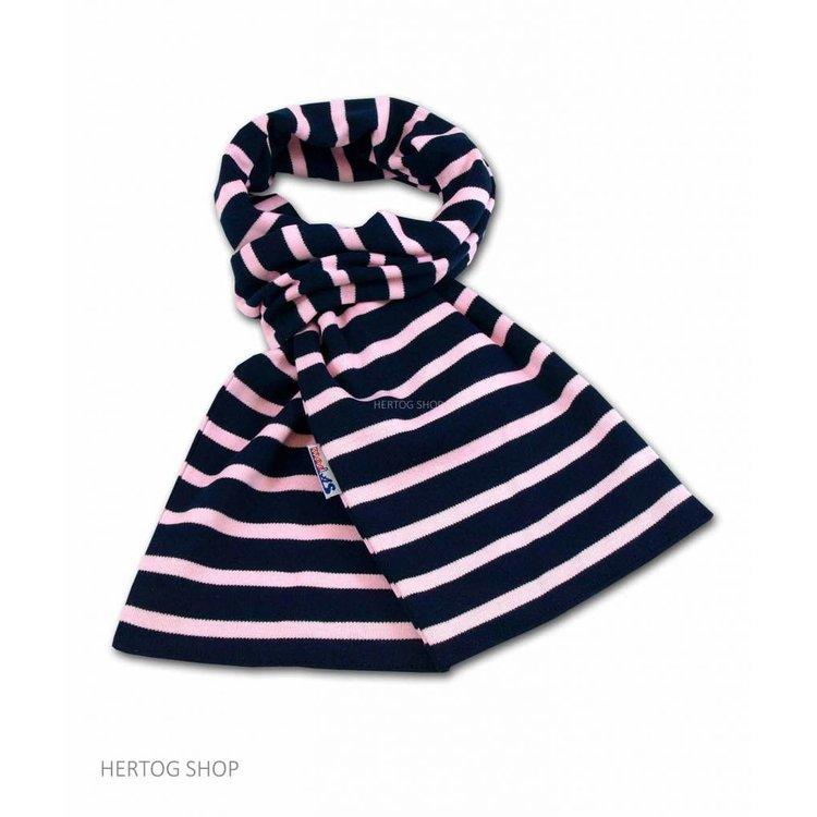 Modas Bretonse sjaal in Marineblauw met roze streep