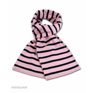 Modas Bretonse sjaal in Roze met marineblauwe streep