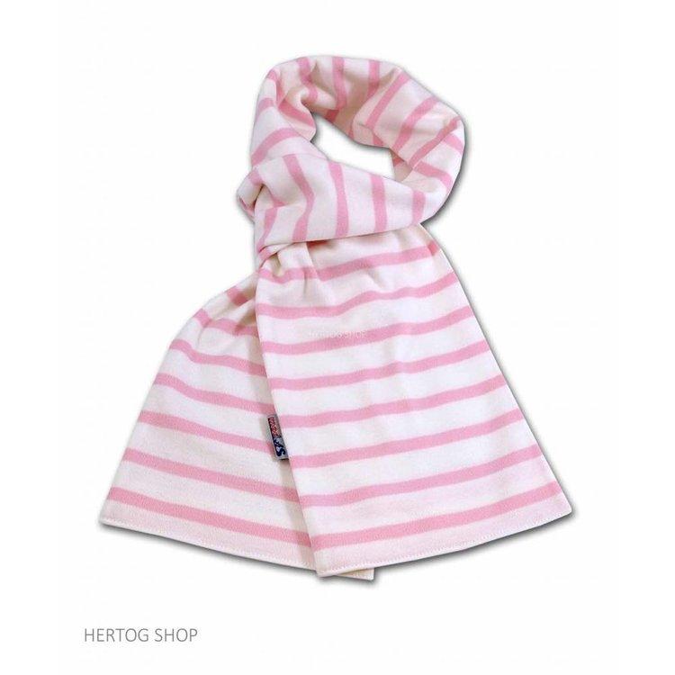 Modas Bretonse sjaal ca. 15x140 cm in Wit met roze streep