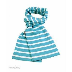 Modas Bretonse sjaal  in Aqua met witte streep