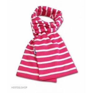 Modas Bretonse sjaal in Fuchsia met witte streep