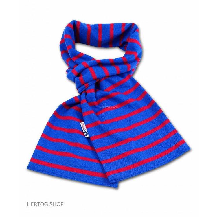 Modas Bretonse sjaal in Royalblue met rode streep