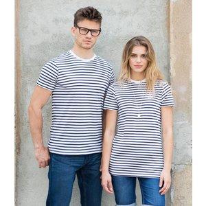 T-shirt, wit met blauwe strepen