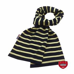 Modas Bretonse sjaal in Marineblauw met citrusgele streep