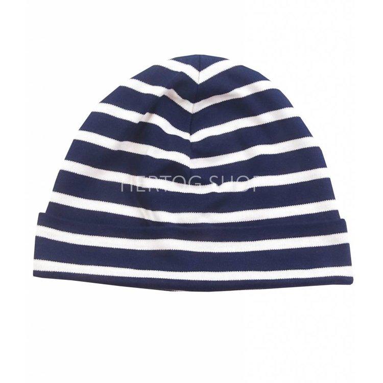 Bretonse streep-muts in Donkerblauw met witte strepen