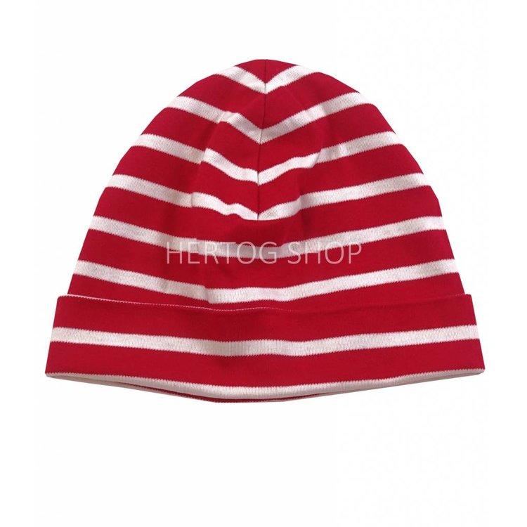 Bretonse streep-muts in Rood met witte strepen