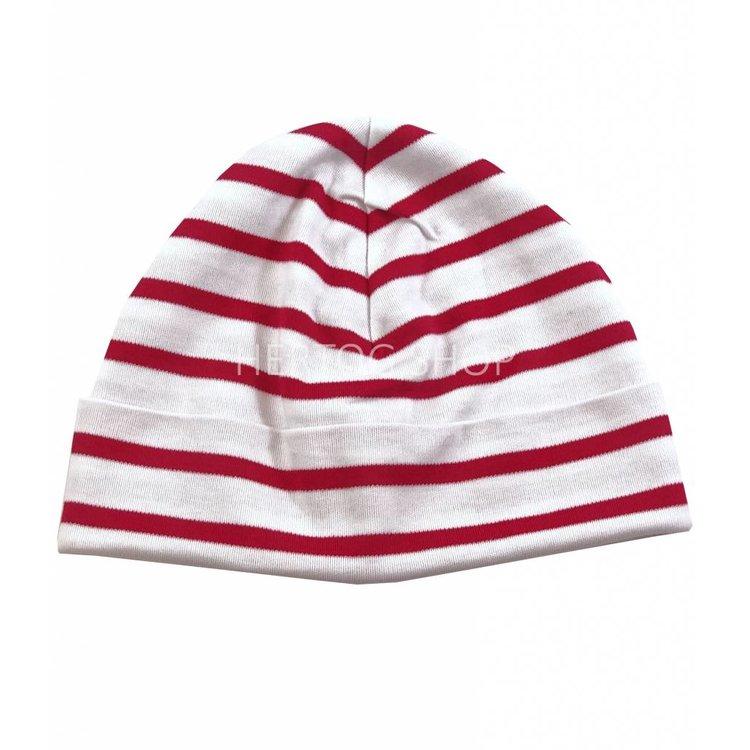 Bretonse streep-muts in Wit met rode strepen
