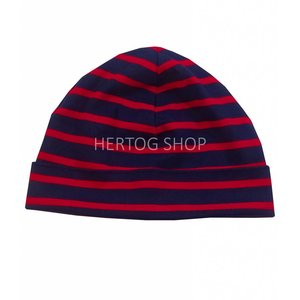 Bretonse streep-muts in Donkerblauw met rode strepen