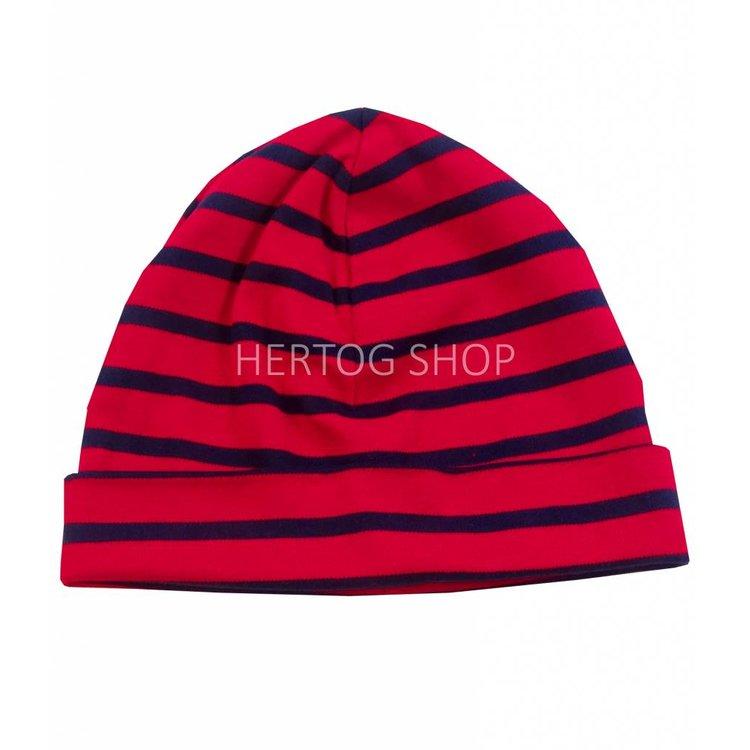 Bretonse streep-muts in Rood met donkerblauwe  strepen
