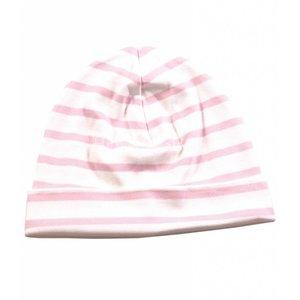 Bretonse streep-muts in Wit met roze  strepen