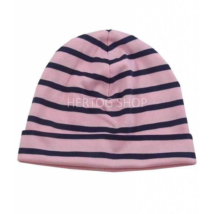 Bretonse streep-muts in Roze met donkerblauwe  strepen