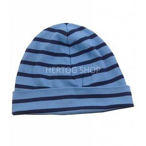 Bretonse streep-muts in Middenblauw met donkerblauwe  strepen