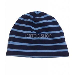 Bretonse streep-muts in Donkerblauw met lichtblauwe  strepen