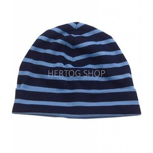 Bretonse streep-muts in Donkerblauw met middenblauwe  strepen