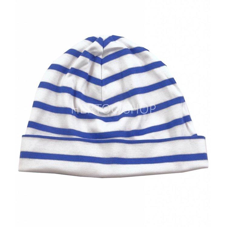 Bretonse streep-muts in Wit met kobaltblauwe  strepen