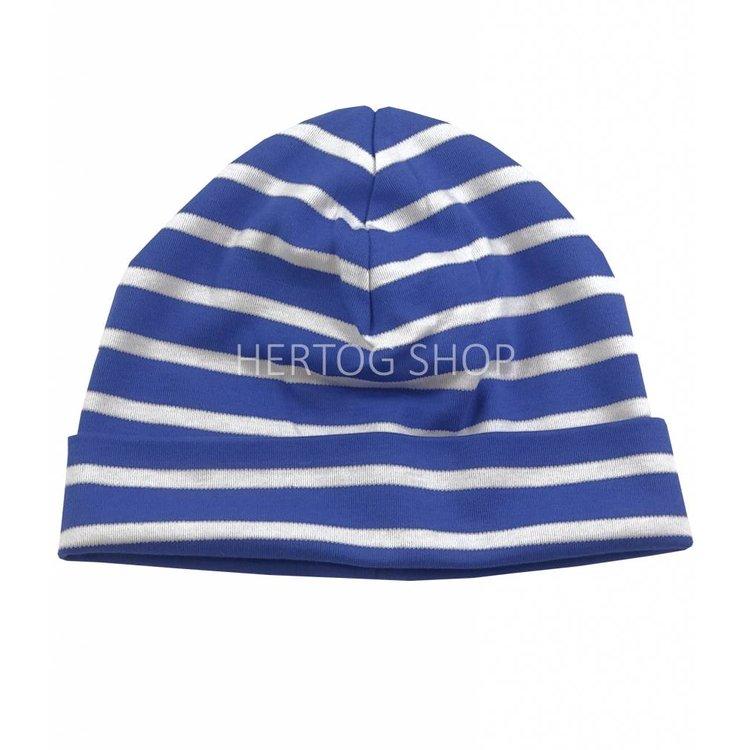 Bretonse streep-muts in Royalblauw met witte strepen