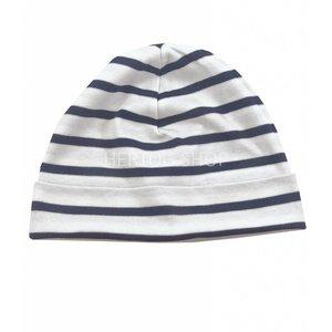 Bretonse streep-muts in Wit met donkerblauwe  strepen