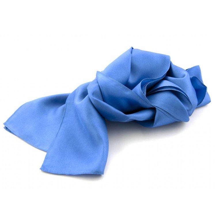 Luxe zijden sjaal in verschillende formaten - Middenblauw