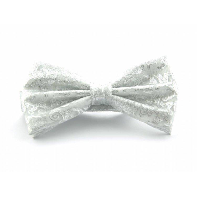 Vlinderstrik van organza - Metallic wit